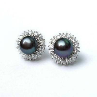 8MM-Black-Akoya-Cultured-Pearl-Earring-silver-stud-AAA-Free-Shipping
